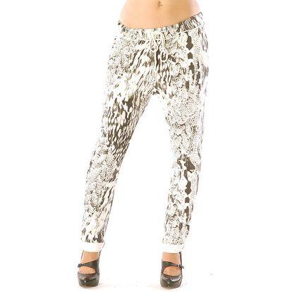 Dámské bílé kalhoty se vzorem Silvana Cirri