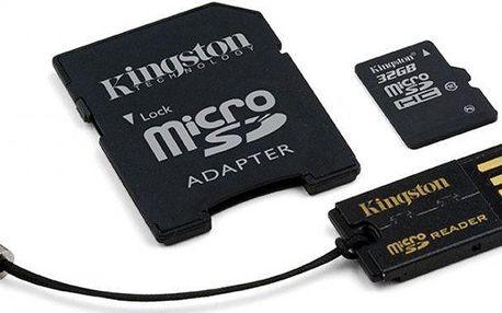 Kingston microSDHC 32GB (class 10) + adaptér + USB čtečka