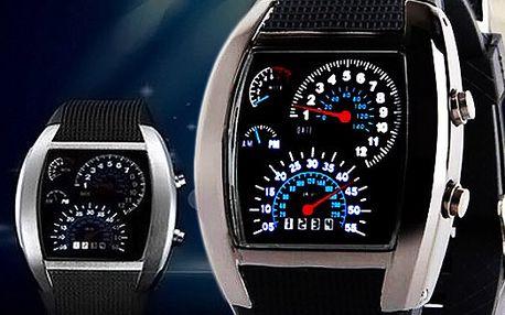 Binární LED hodinky s designem závodního automobilu