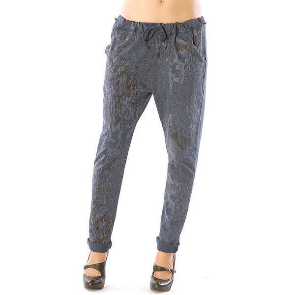 Dámské modré kalhoty se vzorem Silvana Cirri