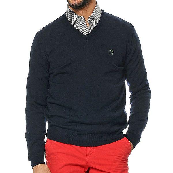 Pánský tmavě modrý svetr z merino vlny s véčkovým výstřihem Uomini Italiani