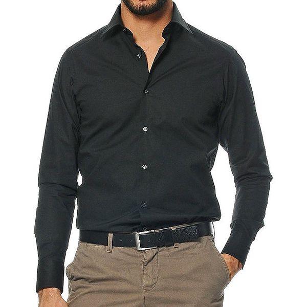 Pánská košile s dlouhými rukávy v černé barvě Uomini Italiani