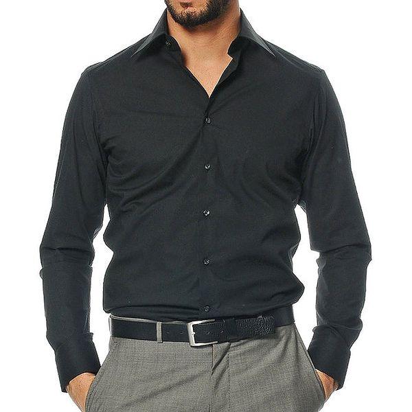 Pánská černá košile s dlouhým rukávem Uomini Italiani