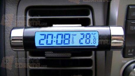 Teploměr do auta s hodinami a klipem pro připevnění a poštovné ZDARMA! - 30804972