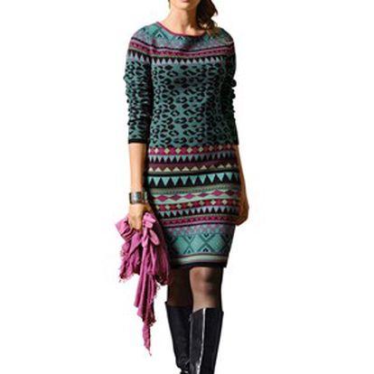 Šaty, emeraldová, vícebarevná
