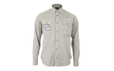 Pánská světle šedá košile s výšivkami Aeronautica Militare
