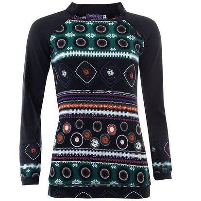 Dámské černé tričko s dlouhými rukávy a barevným vzorem Purple Jam