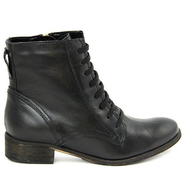 Dámské černé šněrovací kotníkové boty se zipem Giorgio Picino