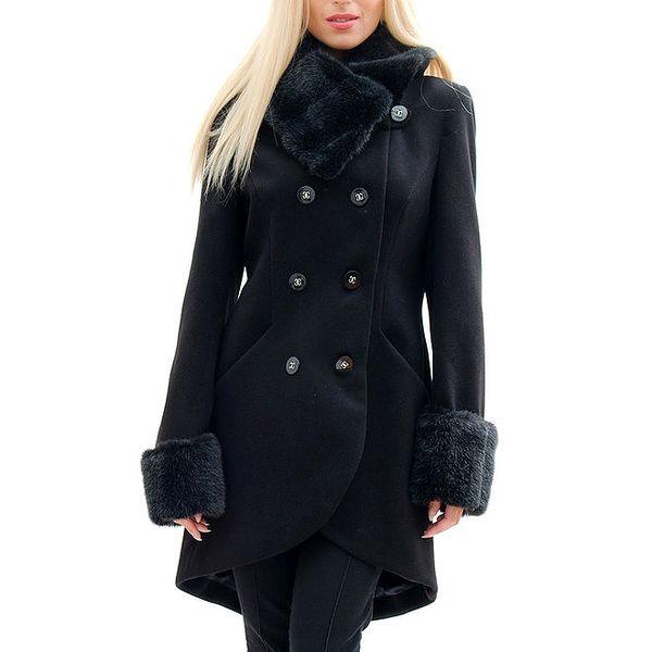 Dámský černý kabát s kožešinkou Radek's