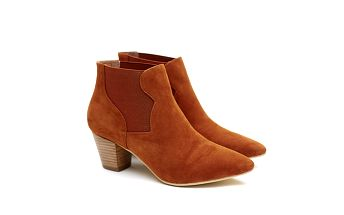 Dámské cihlově červené kotníčkové boty na podpatku Shoe the Bear