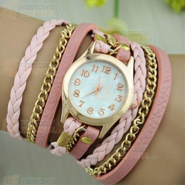 Moderní hodinky s vícevrstvým koženkovým páskem a poštovné ZDARMA! - 31014502