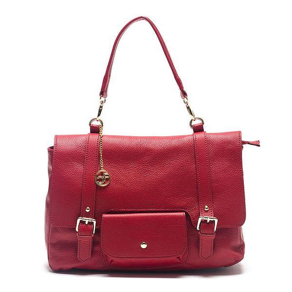 Dámská červená kabelka s kulatým přívěskem Carla Ferreri
