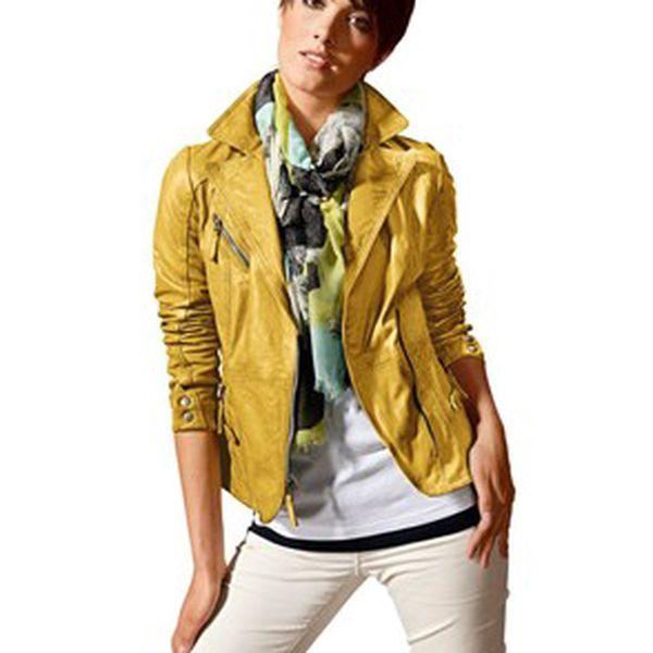 kožená bunda, žlutá
