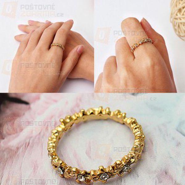 Zlatý prstýnek s květy a poštovné ZDARMA! - 31614496