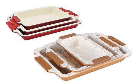 2 nebo 3dílná sada pekáčů s bio keramickým povrchem a se silikonovými rukojeťmi