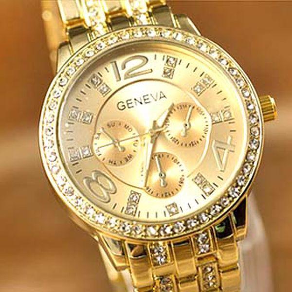 Parádne hodinky vykladané kryštálmi a zirkónmi v 3 farebných variantoch !