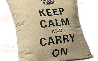 Povlak na polštář 'Keep Calm and Carry On' a poštovné ZDARMA! - 9999914161