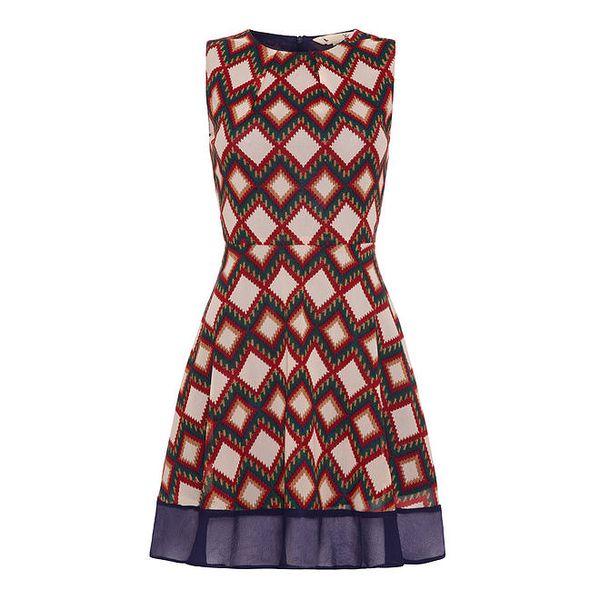 Dámské barevně vzorované šaty s tmavomodrým lemem Yumi