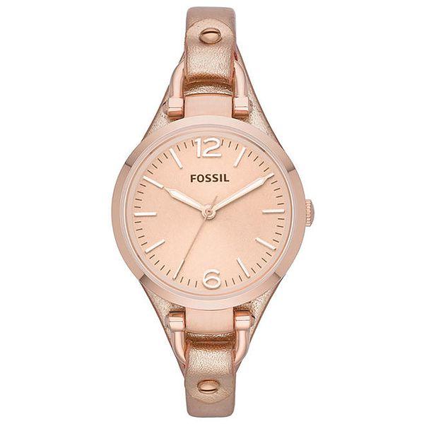 Dámské růžově zlaté analogové hodinky Fossil