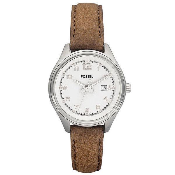 Dámské ocelové hodinky s hnědým koženým řemínkem Fossil