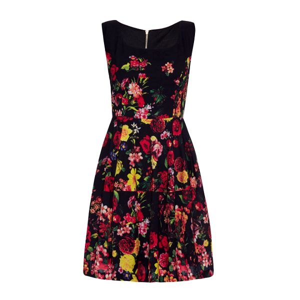 Dámské černé šaty s barevnými květy Yumi