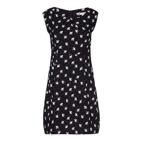 Dámské černé šaty s roztomilým světlým potiskem Yumi