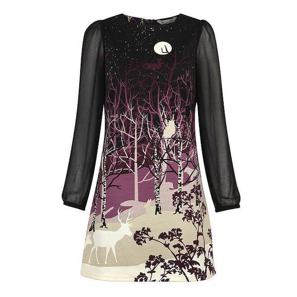 Dámské šaty s fialovým lesním motivem Yumi