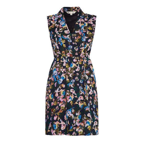 Dámské tmavé šaty s pastelovými květy Yumi