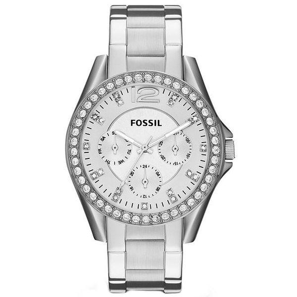 Dámské hodinky ve stříbrné barvě se zirkony Fossil