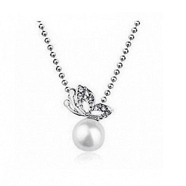 Elegantní náhrdelník s perlou a kamínky ve stříbrném provedení s řetízkem o délce 45 - 50,8 cm!