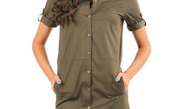 Dámská khaki prodloužená košile Isabel Queen