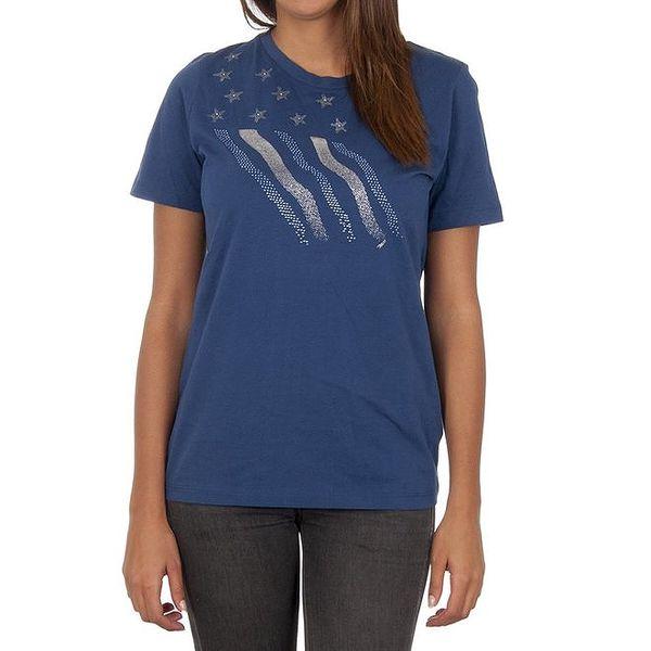 Dámské modré tričko s dekoratovní aplikací Marlboro Classics