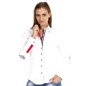 Dámská bílá košile se záplatami na loktech Pontto