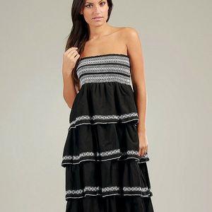 Dámské černé volánové šaty Anabelle s bílou krajkou