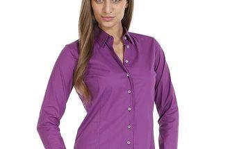 Dámská fialová slim fit košile se vzorovanými manžetami Pontto