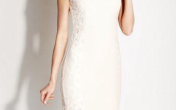Dámské bílé krajkové pouzdrové šaty Rylko