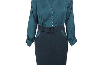 Dámské modré šaty s halenkou a páskem Pietro Filipi