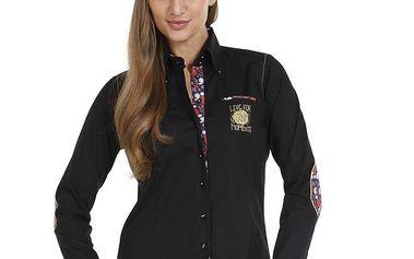 Dámská černá košile se záplatmi na loktech Pontto