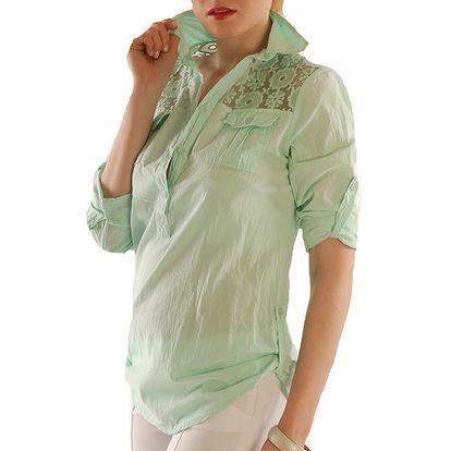 Dámská zelená halenka s krajkou Silvana Cirri