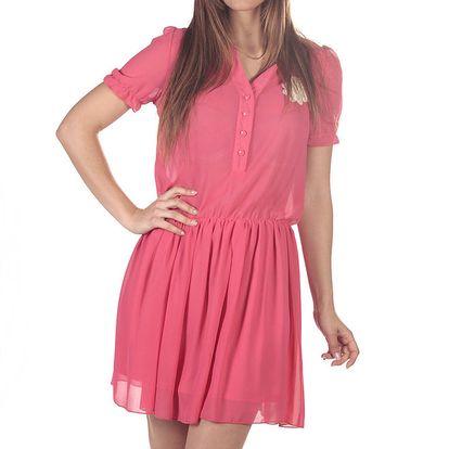 Dámské růžové šaty s rukávky a knoflíčky v dekoltu Azura