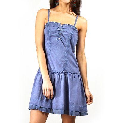 Dámské modré šaty s tenkými ramínky Squise