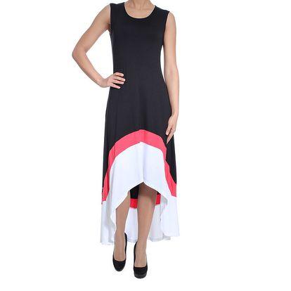 Dámské černé asymetrické šaty bez rukávů SforStyle