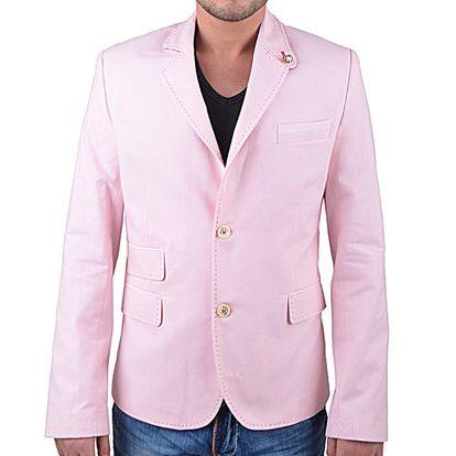Pánské růžové sako s obrázkovou podšívkou RNT23