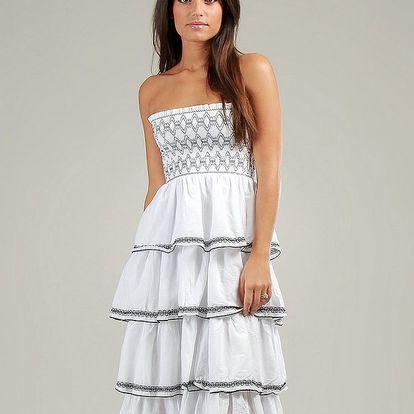 Dámské bílé volánové šaty Anabelle s černou krajkou