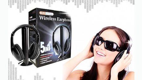 Skvělé multifunkční bezdrátová Hi-Fi sluchátka 5v1, které lze využít k monitoringu dětí jako chůvička. Věstavěné FM rádio a další mnoho užitečných funkcí.