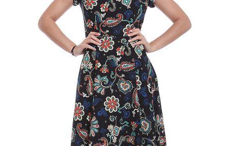 Dámské černé šaty s barevným vzorem Oriana