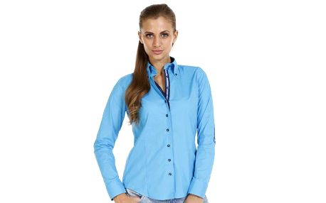 Dámská světle modrá košile se záplatami na loktech Pontto