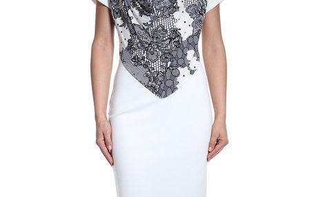 Dámské bílé šaty s krajkovým potiskem SforStyle