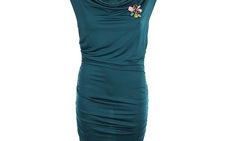Dámské petrolejové šaty s květinovou broží Phard