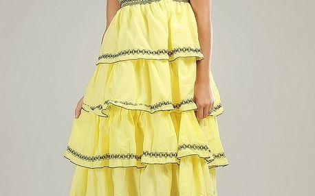 Dámské žluté volánové šaty Anabelle s černou krajkou